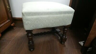 Antique Wooden Stool With Upholstered Top