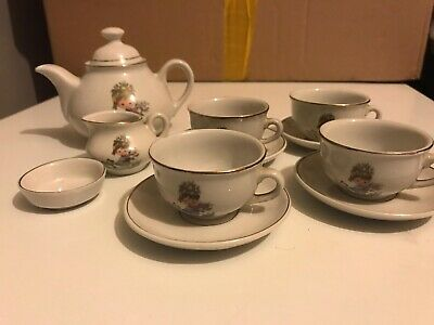 vintage China/porcelain childs tea set Girl With Flowers And Cat