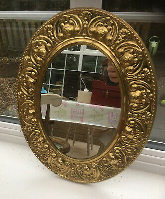 Vintage Antique Brass Oval Frame Arts & Crafts Style Wall Mirror