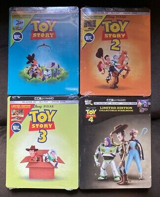 Disney Toy Story 1-4 Beat Buy Exclusive Steelbook 4K, Blu-Ray, Digital Brand New