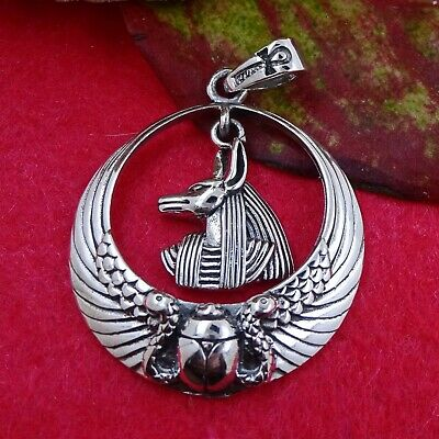 Sterling Silver Egyptian Egypt Anubis God Ankh Scarab Wings Pendant - Solid 925