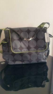 Nappy bag - OIOI Grey Dot Messenger With Green Lining New with tag