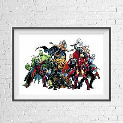 MARVEL SUPERHEROES VILLAINS RETRO POSTER PICTURE PRINT Sizes A5 to A0 **NEW**