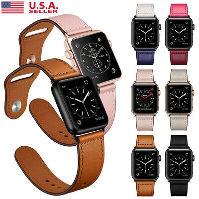 40/44mm Genuine Leather iWatch Band Strap Apple Watch Series 5 4 3 2 38/42mm