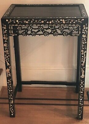 Chinese Plant Stand or Side Table. Dark Wood with Mother of Pearl Inlay. Late 19