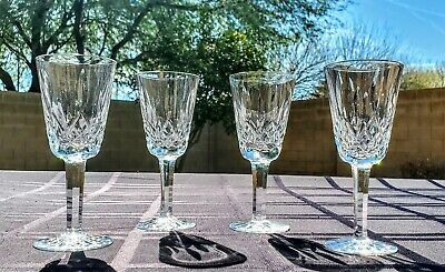 """SET OF 4 Waterford Lismore Fine Cystal 5"""" Stemmed Sherry Cordial Glasses - New!!"""