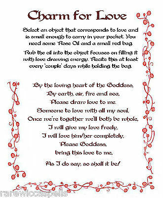 Charm an Item to Draw Love Spell Wicca Book of Shadows Spell page on Parchment