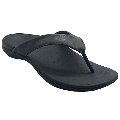 AXIGN 90 Mile Orthotic Arch Support Flip Flops Thongs w Leather Strap Archline