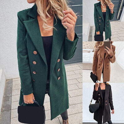 Womens Double Breasted Pea Coat Trench Outwear Coats Blazer Long Office Jacket
