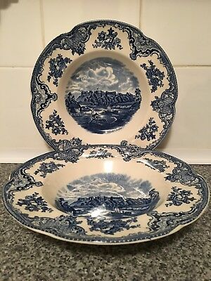 """Pair of Johnson Brothers Windsor Rimmed Soup Bowls in """"Old Britain Castles"""" Blue"""