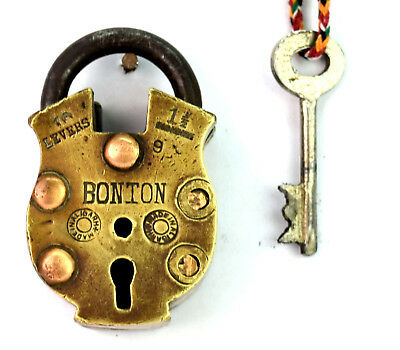 Antique Indian Handmade Brass made Iron shackle Padlock with One key. G2-324 AU