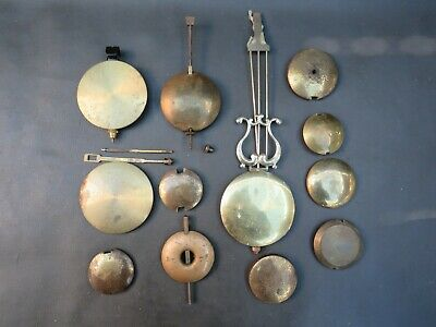 Job lot of vintage clock pendulum bobs & pendulum parts to restore spares parts