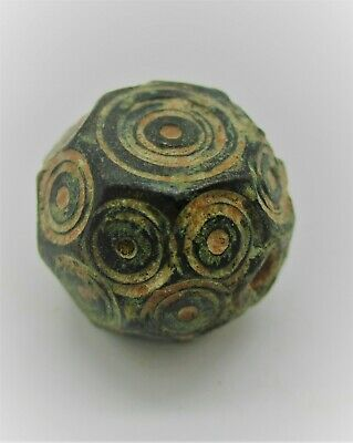ANCIENT BYZANTINE BRONZE POLYGONAL BARREL WEIGHT WITH RING AND DOT MOTIFS 15g