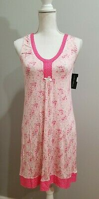 NWT Laura Ashley Coral Ditsy Chemise Pink Floral Polka Dot Nightgown sz Small