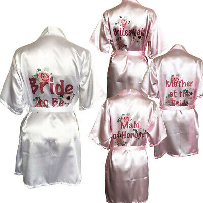 Womens Satin Bride Robe Kimono Gown Wedding Spa Hen Party Dressing Bathrobe Team