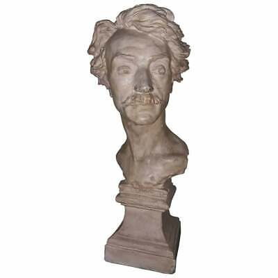 Copy of the marble bust of Gerome by Jean Baptiste Carpeaux, signature