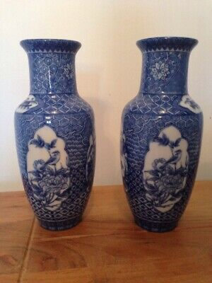 antique Japanese Porcelain Chinese Asian Vintage blue white Bird Vases