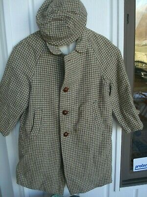 Vintage....Acecraft, fifth ave., N.Y. ...1940's....Tweed....Boy's Coat...W/ Cap