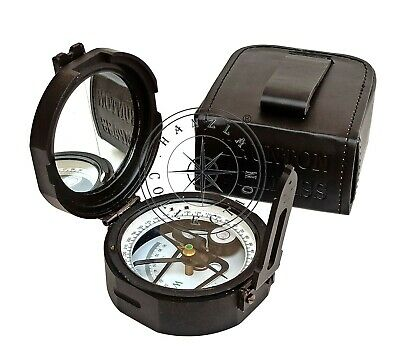 Black Antique Brass Brunton Natural Sines Maritime Compass With Leather Case