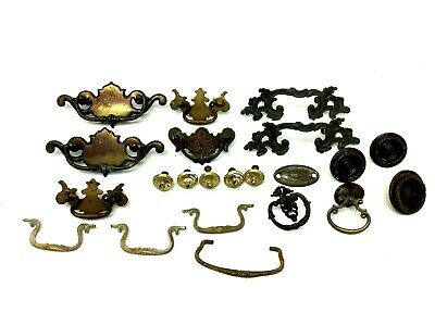Mixed Antique & Vintage Lot Used Brass Metal Drawer Pulls Handles Parts Hardware