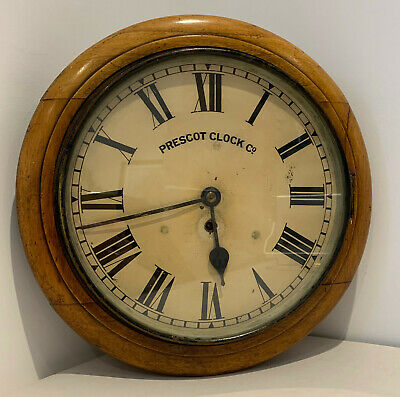 "Original Antique PRESCOT CLOCK CO 12"" 8 Day Fusee Wall Clock Pale Mahogany case"