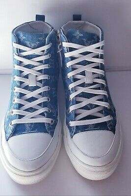 Authentic Louis Vuitton Stellar Sneaker Boot Sz  8.5 US High Tops Denim LV Logo