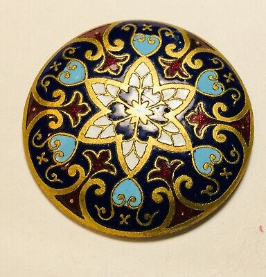 """Antique Large Button 1  1/4"""" Enamel French Champleve Hexagon Design Turquoise"""