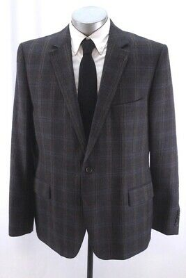 brown plaid STAFFORD blazer jacket sport suit coat elbow patches slim fit 48 R