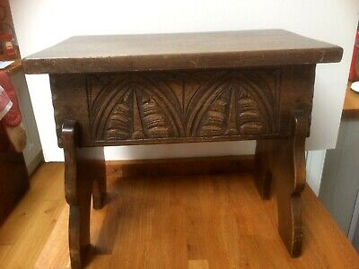 VIntage Priory Corner Oak Lift Lid Small Storage Stool Gothic Style Carving