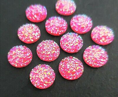 12mm Pink Druzy Cabochons Set of 10 Resin Cabs w/ Flat Back Earring Supply C150