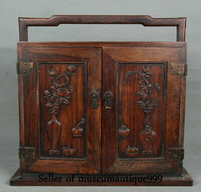 """13.2"""" Old China Huanghuali Wood Dynasty classical furniture Portable Box cabinet"""