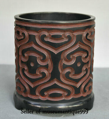 14CM Qianlong Marked Old China lacquerware Dynasty Pattern Brush Pot Pencil Vase