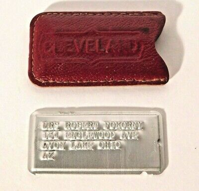 Vtg. Metal Charge Charga-Plate Credit Card in Sleeve Cleveland Ohio