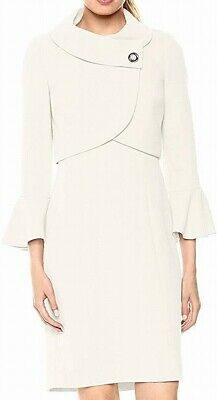 Tahari by ASL Womens Dress Suit White Ivory Size 10 Flutter Sleeve $300 916