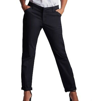 Lee Womens Pants Black Size 14 Tall Straight Leg Mid Rise Chinos Stretch $48 632