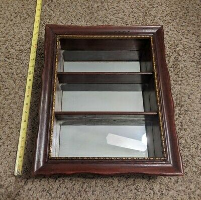 Vintage Antique Wooden Mirrored Wall Shelf 3 Tiered Americana