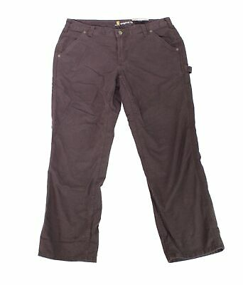 Carhartt Womens Pants Brown Size 14 Short Straight Cargo Button-Front $44 483