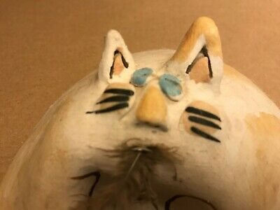 Ceramic Fat Cat Ate the Bird Art Sculpture Pottery Whimsical Hand Crafted OOAK