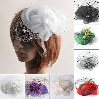 Women Mini Hat Top Hair Clips Fascinator Mesh Feather Cap Veil Wedding Net Party