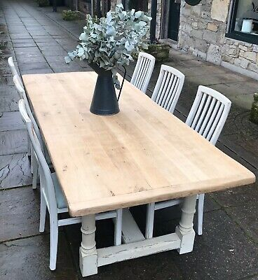 Genuine Vintage French Solid Oak Table And Chairs