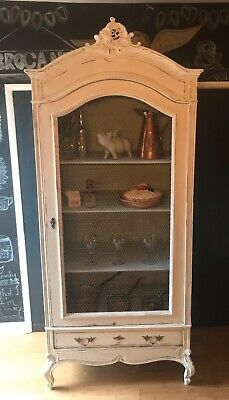Genuine Vintage French Solid Oak Armoire With Chicken Wire Door