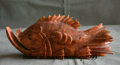 """10"""" Chinese Old Xiu Jade jadeite Hand Carved Fish Animal Wealth Statue Sculpture"""