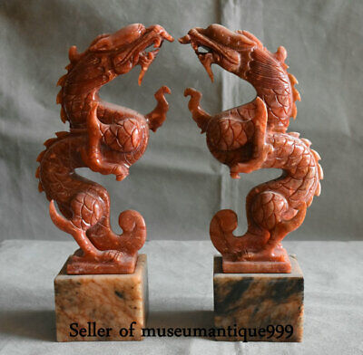 """11.2"""" Chinese Xiu Jade jadeite Carved Dragon Loong Lucky Animal Sculpture Pair"""