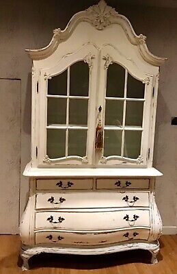 Genuine Vintage French , Solid Oak Glass Bombe Armoire