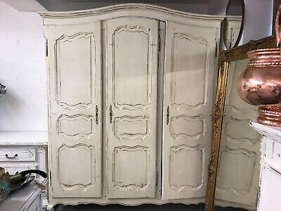 Genuine Vintage French Country 3 Door Solid Oak Armoire