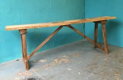 Anitque Large Oak /Pine Pig Stool Bench Wooden Rustic Table