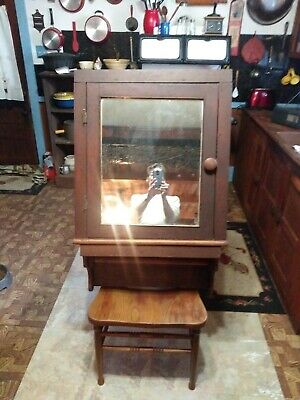 Vintage Early 1900's Walnut Medicine Cabinet With Lead Glass Mirror