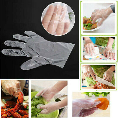 500pcs Plastic Clear Disposable Gloves Garden Restaurant Home Food Baking Tool