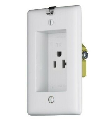 Hubbell Wiring RR201CHWTR Straight Blade Clock Hanger/Recessed Receptacle