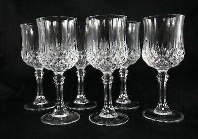Set of 6 Vintage French Lead Crystal white wine glasses port sherry